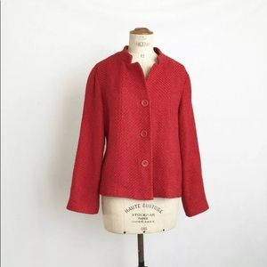 Eileen Fisher Red coat sweater sz:M travel checker